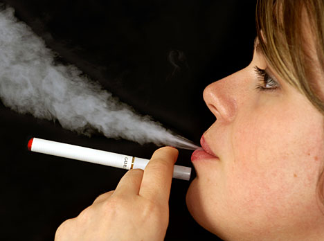 Girl using e-cigarette