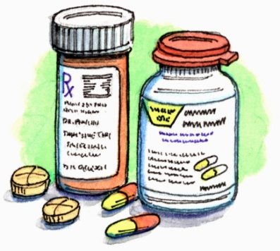 Drawing of prescription drug bottles