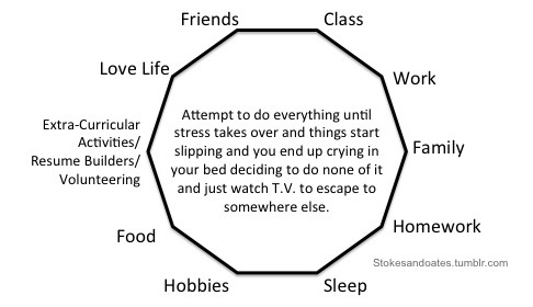A geometric shape that lists many different things college students deal with well or poorly depending on their time management (ex: work, class, family, hobbies)